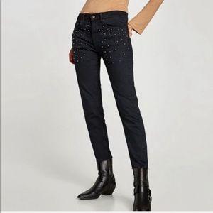 Zara The Slim Boyfriend Jeans With Pearls Black